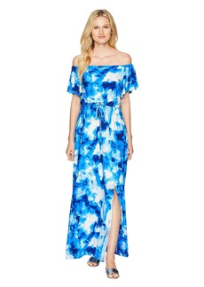 Nine West ITY Off-the-Shoulder Blouson Maxi Dress with Waist Tie