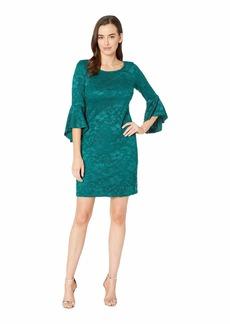 Nine West Lace 3/4 Peplum Sleeve T-Shirt Dress
