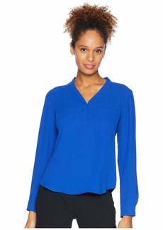 Nine West Long Sleeve Lightweight Crepe Two-Pocket Blouse