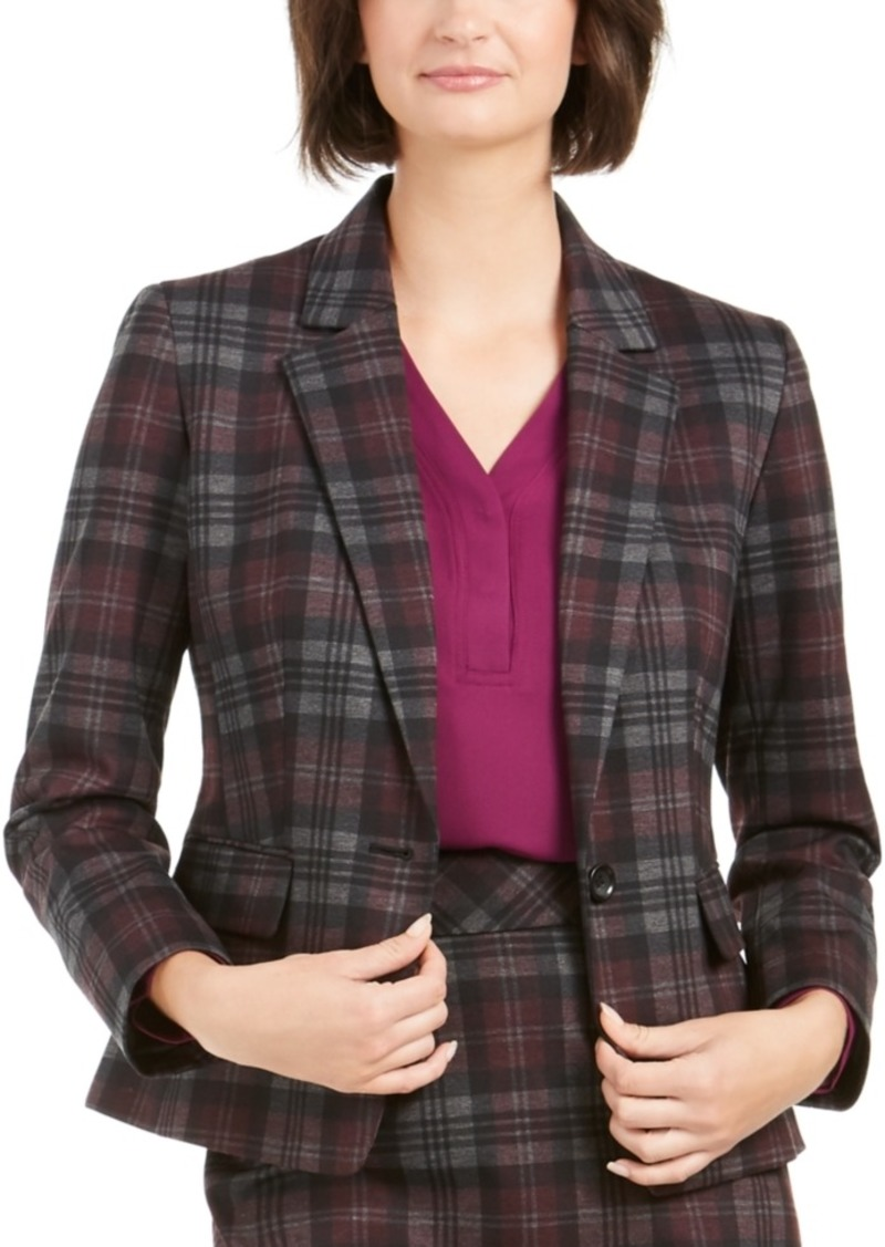 Nine West 1-Button Plaid Blazer