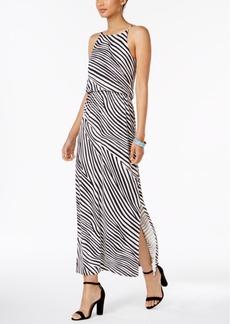 Nine West Animal-Print Blouson Maxi Dress