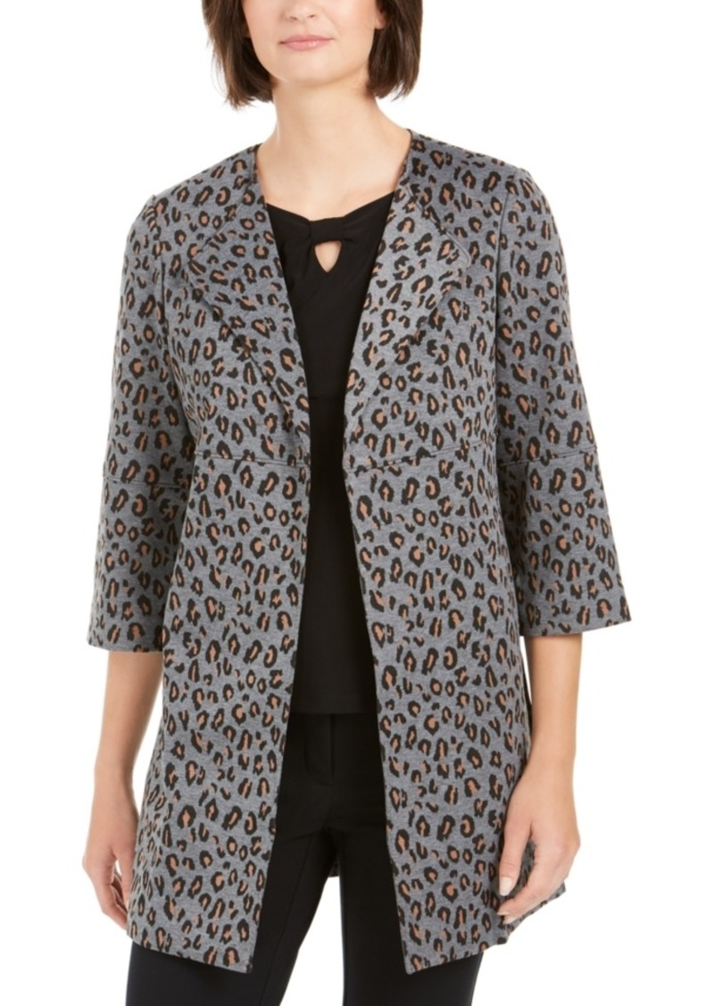 Nine West Animal-Print Open-Front Blazer