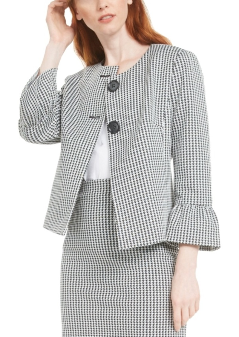 Nine West Bell Sleeve Plaid Jacket