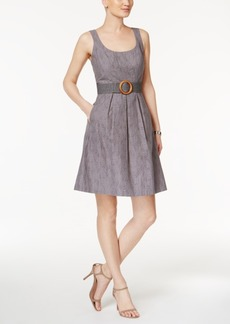 Nine West Belted Burnout Fit & Flare Dress