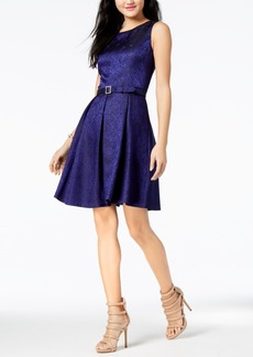 Nine West Belted Pleated A-Line Dress