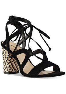 Nine West Bizzy Block-Heel Lace-Up Sandals Women's Shoes
