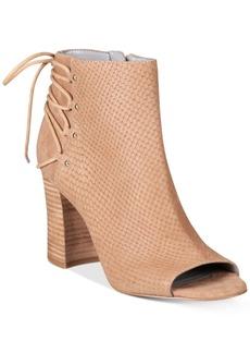 Nine West Britt Back Lace-Up Peep-Toe Block-Heel Booties Women's Shoes