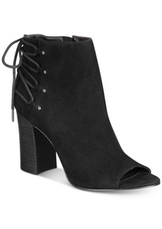 Nine West Britt Back Lace-Up Peep-Toe Block-Heel Booties Women's Shoes