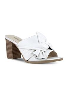 Nine West Byron Block Heel Leather Slide Sandals