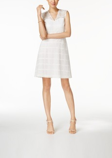 Nine West Cap-Sleeve Lace Fit & Flare Dress