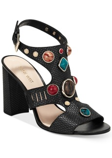 Nine West Chervil Studded Block-Heel Sandals Women's Shoes