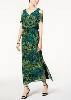 Nine West Cold-Shoulder Blouson Maxi Dress