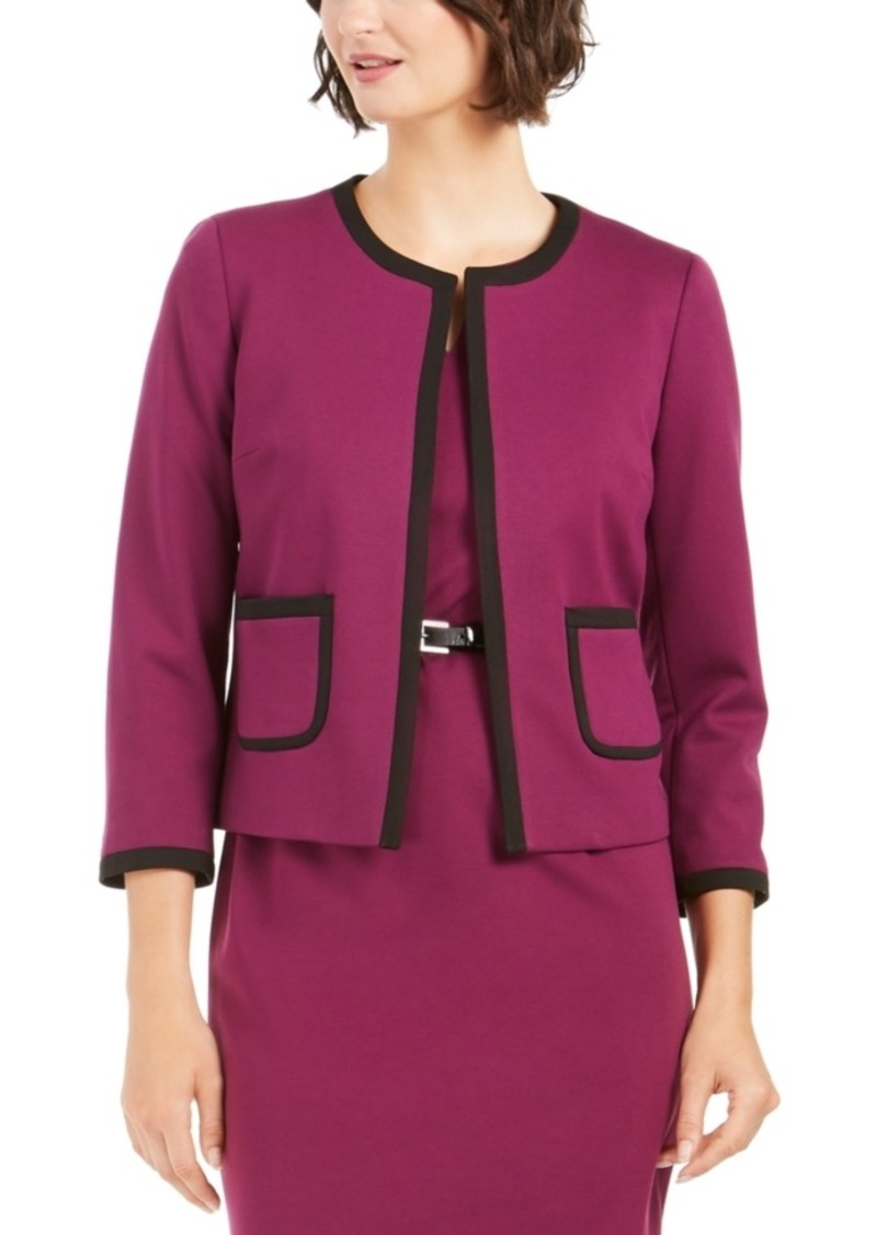 Nine West Contrast-Trim Open-Front Blazer