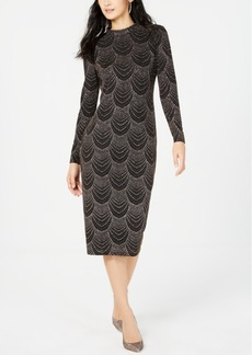 INC International Concepts Inc Sequin Mock Neck Midi Dress, Created For Macy's