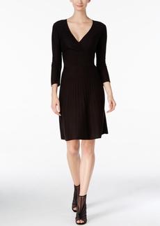 Nine West Embellished Surplice A-Line Sweater Dress
