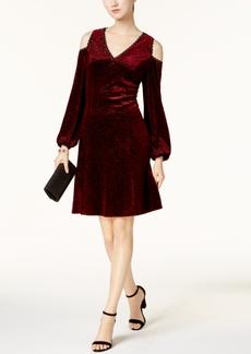 Nine West Flocked-Velvet Cold-Shoulder Dress