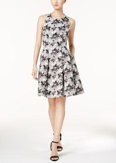 Nine West Floral Jacquard Fit & Flare Dress