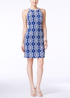 Nine West Floral-Lace Halter Sheath Dress