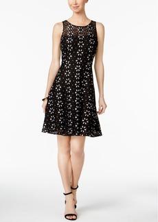 Nine West Floral-Lace Illusion Dress
