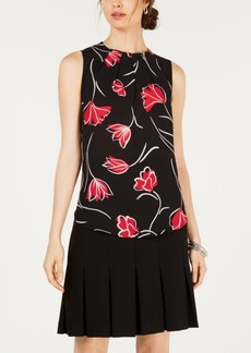 Nine West Floral Pleat-Neck Sleeveless Blouse