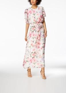 Nine West Floral-Print Belted Maxi Dress