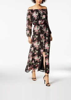 Nine West Floral-Print Off-The-Shoulder Maxi Dress