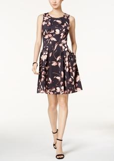 Nine West Floral-Print Scuba Fit & Flare Dress