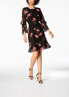 Nine West Floral-Print Tie-Sleeve Chiffon Dress