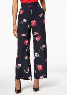Nine West Floral-Print Wide-Leg Pants