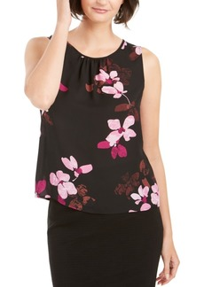 Nine West Floral Printed Ruched-Neck Top