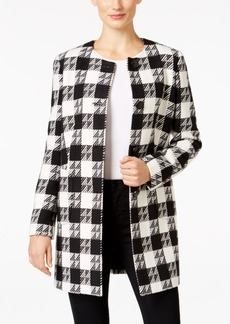 Nine West Four-Button Houndstooth Long Jacket