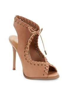 Nine West Hot Stuff Whipstitched Leather Lace-Up Sandals