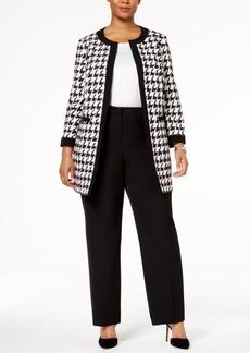 Nine West Plus Size Houndstooth Open-Front Jacket