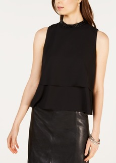 Nine West Jewel-Neck Two-Tier Sleeveless Blouse