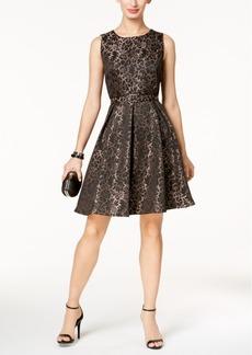 Nine West Lace Jacquard Fit & Flare Dress