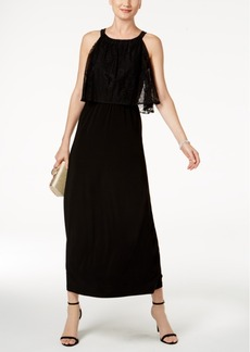 Nine West Lace-Popover Maxi Dress