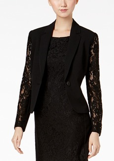 Nine West Lace-Sleeve One-Button Blazer