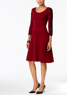 Nine West Lace-Sleeve Sweater Dress