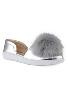 Nine West Leah Faux Fur Pom Sneakers