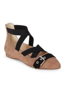 Nine West Leather Blend Almond Toe Flats