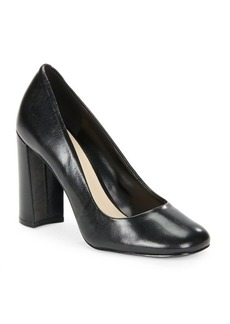 Nine West Leather Block Heel Pumps