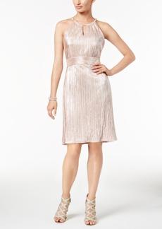 Nine West Metallic Pleated Halter Dress