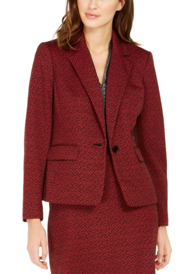Nine West One-Button Jacquard Blazer