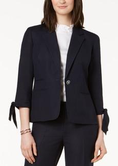 Nine West One-Button Tie-Sleeve Blazer