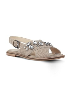 Nine West Ostina Crystal Embellished Slingback Flat (Women)