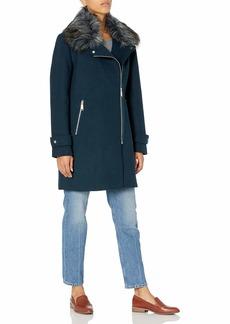 """Nine West Outerwear Women's 32"""" Asymmetric Zip Wool Coat  Extra Small"""