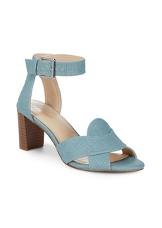 Paid Up Crisscross Block Heel Sandals