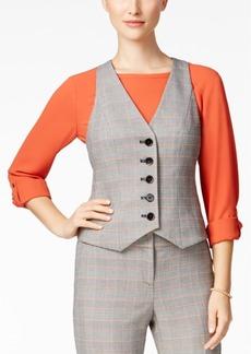 Nine West Plaid Five-Button Vest