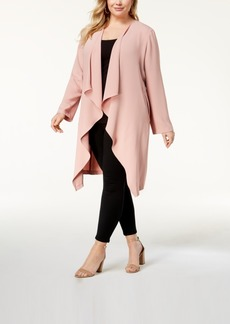 Nine West Plus-Size Cascade-Front Duster Jacket, Created for Macy's