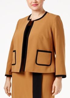Nine West Plus Size Crepe Open-Front Framed Jacket